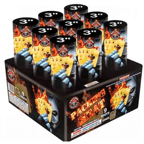 Packin heat Huge 9-shot 3 inch brocade dragon eggsstrobe Raccoon Fireworks Firework by Wholesale Fireworks in Warrenton MO